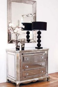 Glamorous furniture and design ideas - mirror furniture - mirrored furniture drawers and lamp.jpg