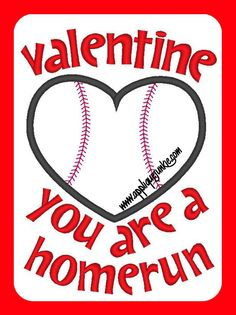 Valentine Baseball Applique Design
