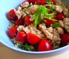 cooked bulgur wheat and chickpeas and used it as the basis for a few different dishes.