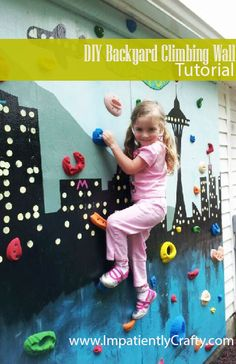 diy kids outdoor playground, diy tutorial, climbing wall kids, backyard climbing wall, diy backyard, fun, diy climbing wall, backyards, climb wall
