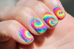 Tie dye nail art it funky and Goovy perfect for disco dance or 80s night out or just to add a pop of color
