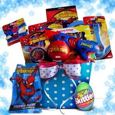 Ideal Easter Gift Baskets for Boys - Spiderman #easter #chocolate Spiderman, this hero of many generations is standing by to make this Easter holiday a more memorable one. This Spiderman Easter gift basket for kids filled with activities and Spiderman novelties. #giftbasket A Spiderman watch, a set of Spiderman rubber bracelets, a set of two Spiderman paddles and two balls, a Spiderman water gun, a 3 inch Spiderman bounce ball, stickers and light up yoyo for fun, and Spiderman popping candy,
