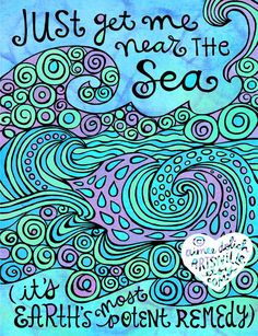 Just Get Me Near the Sea 8x10 doodle print by artsyville on Etsy