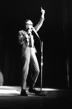 Woody Allen doing stand-up comedy in Las Vegas, December 5 1966. Photo by Bill Ray.