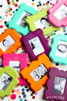 Check out these fun, painted DIY refrigerator frames :)