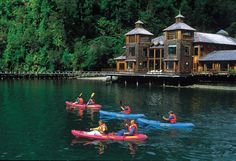 Queulat National Park, Chile.  Termas de Puyuhuapi , a natural hot springs resort accessible by water only.
