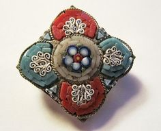 Antique Micro Mosaic Pin Brooch Signed Italy