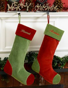 Green and Red Velvet Personalized Stockings
