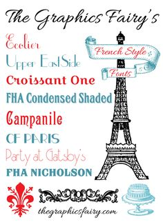Free French Fonts - The Graphics Fairy. #Fonts http://thegraphicsfairy.com/free-french-fonts/