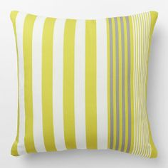 Made of durable, weather-resistant material, the Outdoor Bold Stripe Pillow brings sophisticated stripes in a fun, fresh palette to decks, porches and patios.