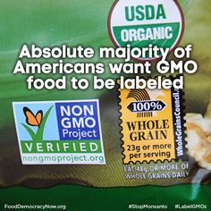 Absolute Majority Of Americans Want GMO Food To Be Labeled. More Here: http://rt.com/usa/gmo-labeled-majority-americans-601