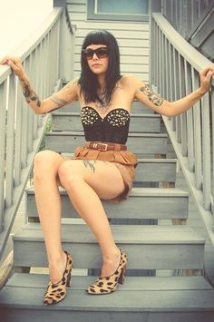 love the shoes and the look. Wish I could see her ink better! leopard shoes, outfits, fashion, style, weight loss, corset, stud, tattoo, ink