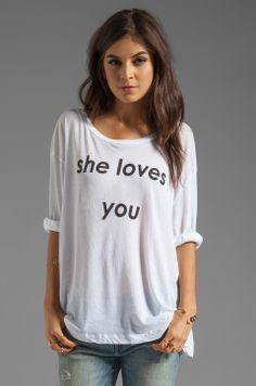 Wildfox Couture She Loves You Rainy Beach House Tee in White
