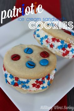 Perfect for Memorial Day BBQ's and July 4th http://www.militarywivessaving.com/patriotic-red-white-and-blue-ice-cream-sandwiches-recipe/ | #recipes #desserts #july4th #julyfourth #4thofjuly #july4