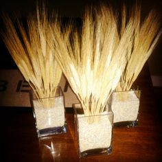 Beer Party  Centerpiece of wheat and barley for beerfest party.
