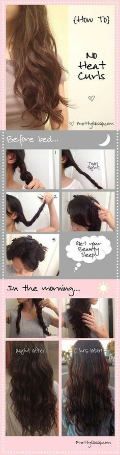 No heat curls: Traci's trick for using something softer then clips so you won't break them while tossing in your sleep from discomfort.  *after twisting hair wrap it around shredded material like a hot curler (1-2 in. wide shreds about 4 inches long) and tie material ends together then pin them to your head. you've just made yourself some homemade no heat curlers. *damp hair works better!