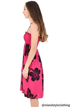 Ladies Tube Dress Pink & Black Hibiscus Hawaiian Print. Pretty summer dress for a bbq, cruise or luau party. #ladiesdress #tubedress #luaudress #springbreak #cruisedress #vacationdress #summerdress #hawaiiandress #floraldress #cruisewear #cruise #fashion #ladiesfashion #sunset #hibiscusdress #luauparty #luaupartydress #tropical-dress #islandstyleclothing