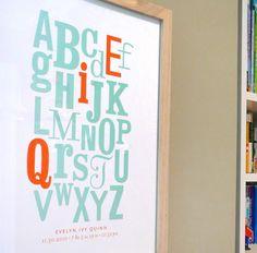 Alphabet with Initials modern nursery art print by AlmostSundayInc