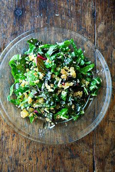 swiss chard salad with lemon, breadcrumbs and parmesan