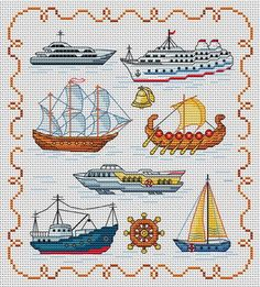 types of ships (ignore that it's cross stitch :))