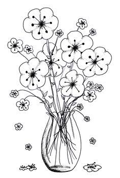 Vase of flowers flower vase, digi stamps flowers