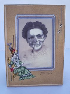 Day of the Dead superimposed picture of skull multi-media art. $12.50, via Etsy.