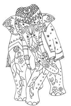 ☮ American Hippie Psychedelic Art ~ Indian Elephant .. Coloring Page