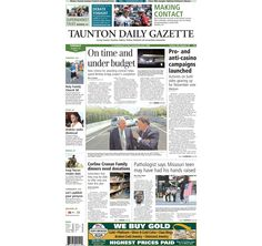 The front page of the Taunton Daily Gazette for Tuesday, Aug. 19, 2014.
