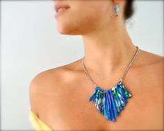 Recycled Statement Necklace - Tribal Ombre - Geometric Fringe Fabric Jewelry in Blue. $25.00, via Etsy.