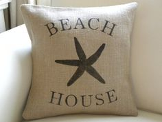 Burlap beach house starfish sea star pillow cover by TheNestUK, $29.50