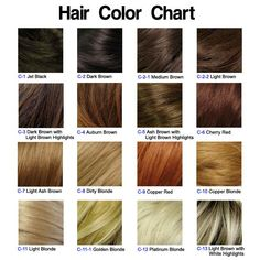 hair color chart...light brown with white highlights add some red perfection!