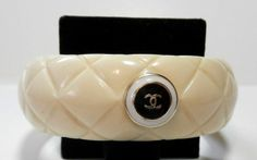 ButtonArtMuseum.com - Gorgeous Auth Chanel Button Bangle Bracelet Lucite Rings by Paul Alden CC745