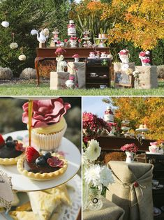 Burlap  Burgundy High Tea Party // Hostess with the Mostess®. Would be lovely for a bridal shower.