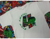 Superhero Appliqued Shirt, Hulk Inspired Character and Number Birthday Shirt Includes One Applique Superhero, Number and Name birthday parti, hulk inspir, appliqu shirt, birthday shirts, numbers, number birthday, names, birthdays, appliques