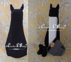 Crochet Batman Cape/Hat Bootie and Diaper Cover by CrochetItBaby, $5.00