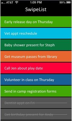 Swipelist is one of our favorite to-do apps. Color-coded and so easy to use.
