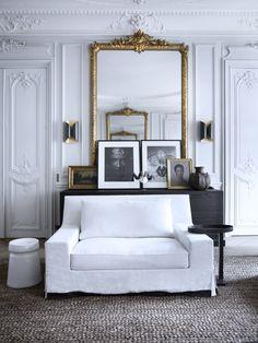 mirror, interior, couch, dream, black white, parisian style, bathroom designs, white gold, design bathroom