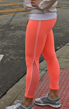 Neon running leggings...I want these! I'm so tired of only seeing black black black exercise gear. I am not a ninja as hard as I try and I would rather NOT be hit by a car, thanks.