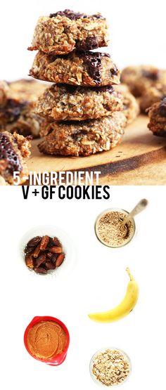 5 Ingredient Vegan + GF Cookies! So healthy, so easy, so delicious | minimalistbaker.com #vegan #glutenfree
