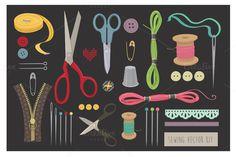 Sewing vector kit by Cheeba Ribba Designs on Creative Market