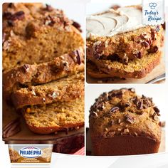 This quick and easy pumpkin bread recipe is packed with maple and pecans, but what's on top is the best part! PHILADELPHIA Cinnamon Brown Sugar Cream Cheese makes the perfect topping.
