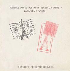 Vintage Paris postmark brushes for Photoshop