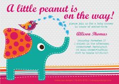 Elephant Baby Shower Invite by LindsayJayeDesign on Etsy, $15.00