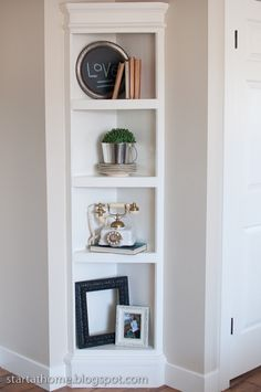 Built-in Corner Shelf dining rooms, at home, living rooms, shelving units, front doors, small spaces, homes, corner shelves, upstairs hallway
