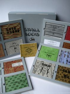 """Small Books: 16 Hand-made, """"Artisan"""" Books Inset in Framed Pages, Thumb Holes for Easy Retrieval, Housed in a Reinforced Clamshell Box. From Etsy shop BooksMadeByHand."""