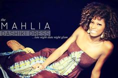 The MAHLIA Dashiki Dress! You can rock it in a twist-out with the MAHLIA DASHIKI DRESS in MAHOGANY for a look that's late-night-date-night glam!  -To get this twist-out look, we 2 strand twisted the KINKY COMBER wefted hair using Afrigenix Kurl Keeper for the Sun Kissed 2 strand twists pictured below. A few days later, we opened up the twist, and curled the ends with a 3/8 inch curling iron. We spritzed the ends with water before curling them & VOILA! www.fingercomber.com