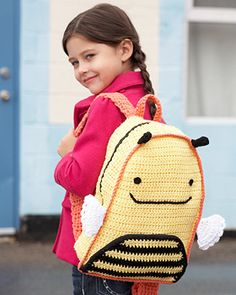 Keep busy with the adorable zippered Busy Bee Backpack! Durable, crocheted fabric and an inner pocket will help your children get excited for school.