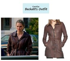 "On the blog: Kate Beckett's (Stana Katic) brown leather trench jacket | Castle - ""For Better or For Worse"" (Ep. 623) #tvstyle #tvfashion #outfits #fashion #seasonfinale #castlefinale #castlealways"