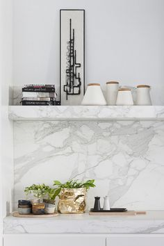 Marble counter to backsplash and then open shelving.