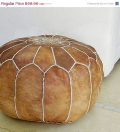 10 OFF SALE Moroccan Leather Pouf TanPerfect by MaisonMarrakech, $89.09